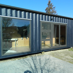 Container shop outside built by Taylor Made Container Homes
